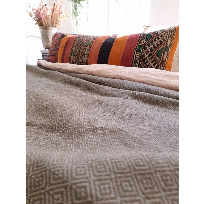 Moroccan Pom Pom Blanket  Olive Green
