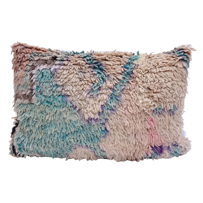 Moroccan Pillow peach turquoise purple