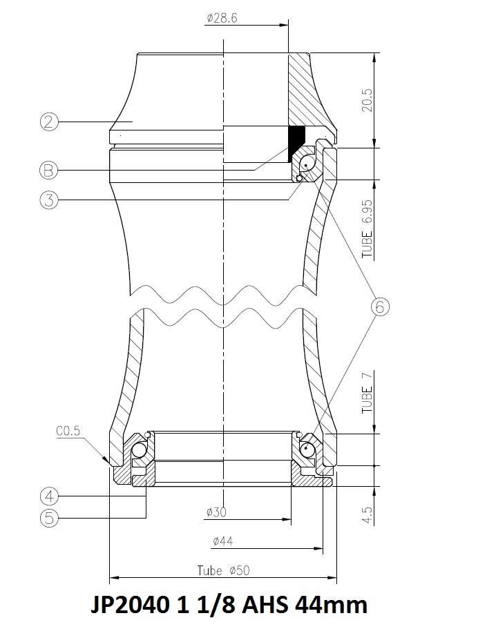 JP2040 Balhoofdstel met aanslag AHS 28.6/44/20 cartridge