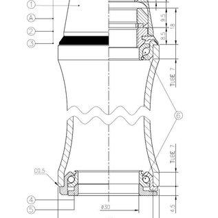 JP2080 Balhoofdstel met aanslag draad en kap 28,6/44mm, cartridge