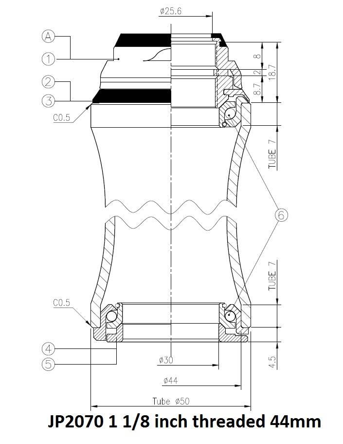 JP2070 Balhoofdstel met aanslag draad 28,6/44mm, cartridge