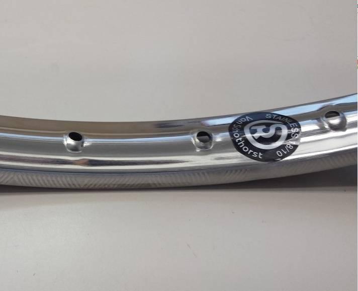 Vel622RVS;  Velg RVS 36 gaats 28 inch, 622mm nippelgat 13