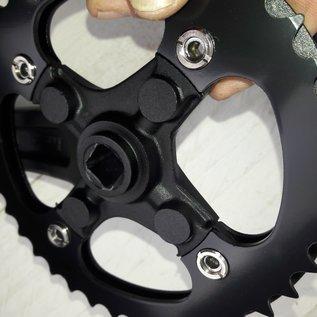 Crankstel 38T zwart met rand 170mm vierkant