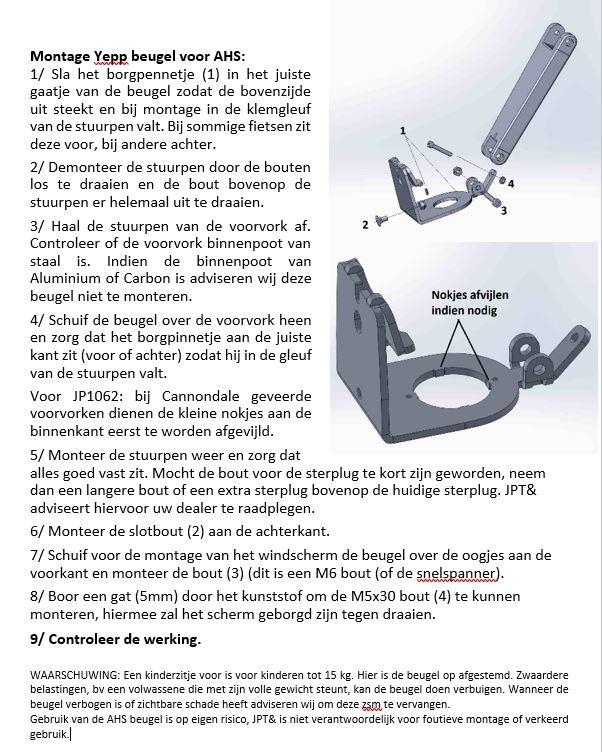 JP1067 AHS Beugel voor Yepp+scherm voor 1 1/2 (38mm of 39,8mm)