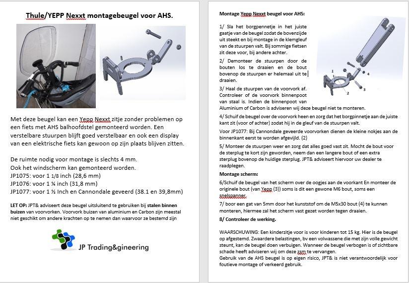JP1075 AHS Beugel voor Thule / Yepp nexxt mini en scherm
