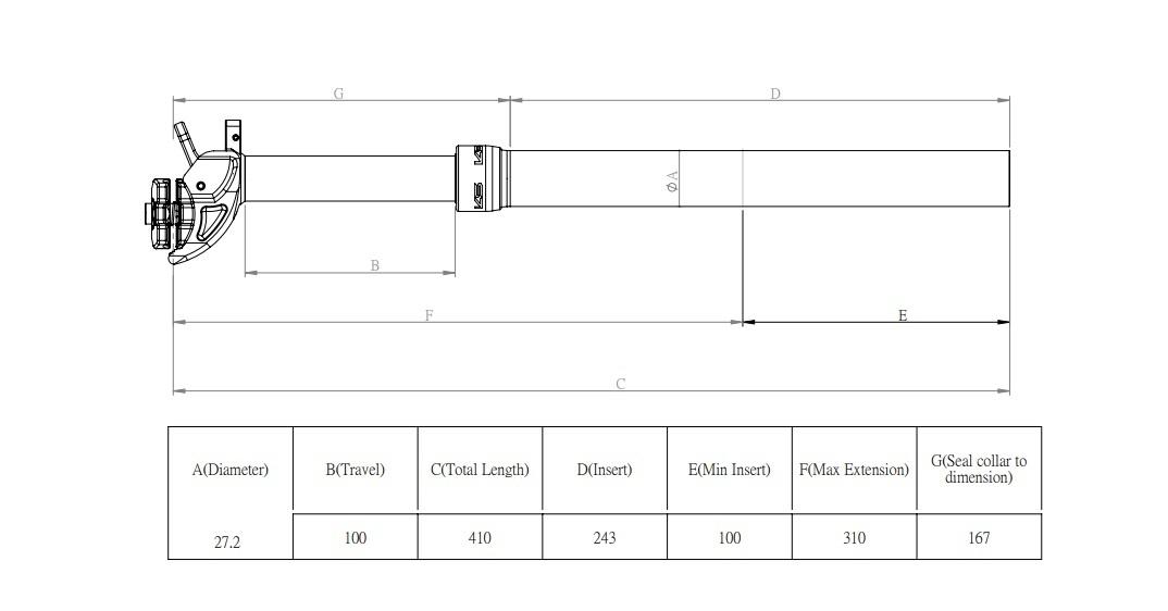 ZDP-KS ETEN R272; Verstelbare zadelpen met afstandbediening op stuur 27,2 zwart