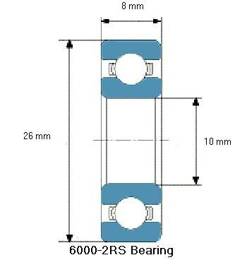 BE-6000-2RS lager, 10x26x8