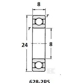 TBZ bearings 628-2RS lager, 8x24x8