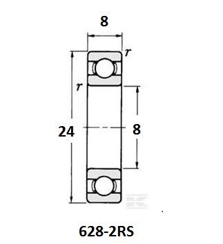 BE-628-2RS lager, 8x24x8