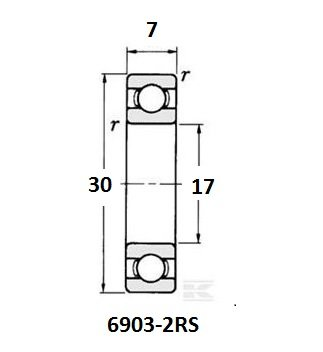 BE-6903-2RS lager, 17x30x7