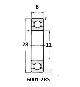BE-6001-2RS lager, 12x28x8