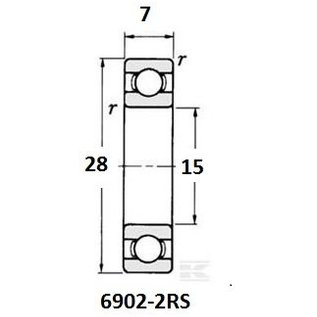 TBZ bearings 6902-2RS, 15x28x7