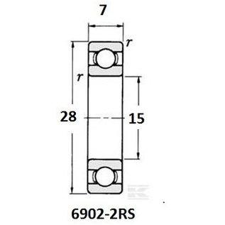 TBZ bearings 6902-2RS, 15x28x7