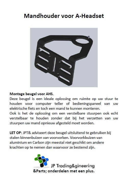 JP1112 Mandbeugel voor AHS 1 1/8 met kabel doorvoer