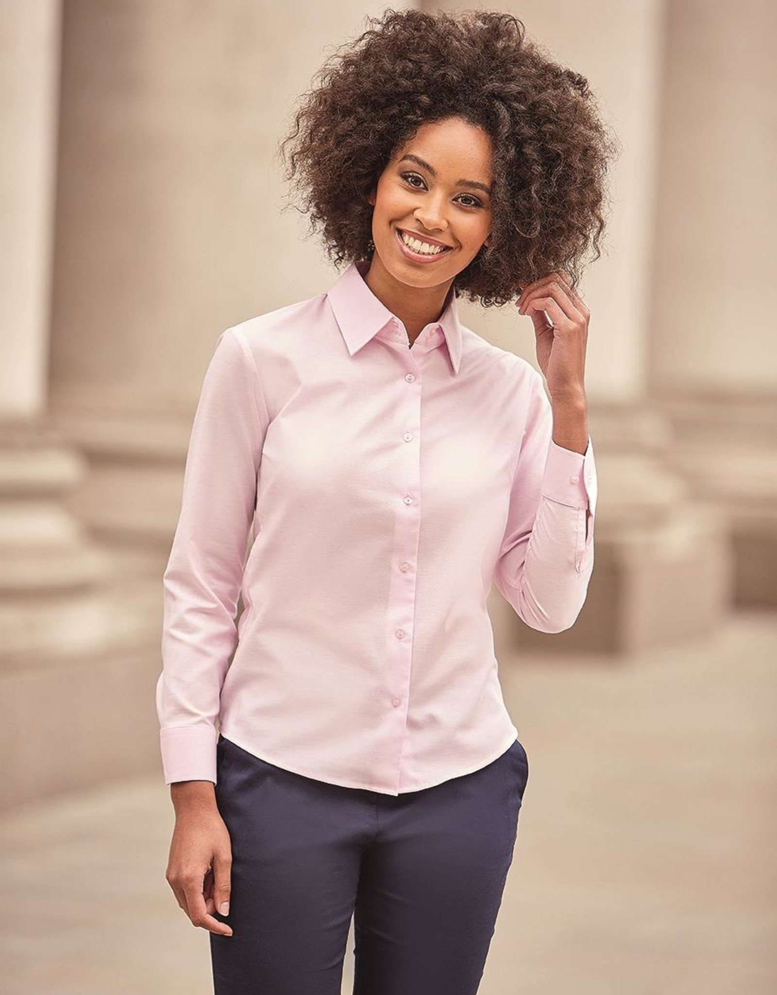 Russell BLOUSE Classic Oxford lange mouw kobalt