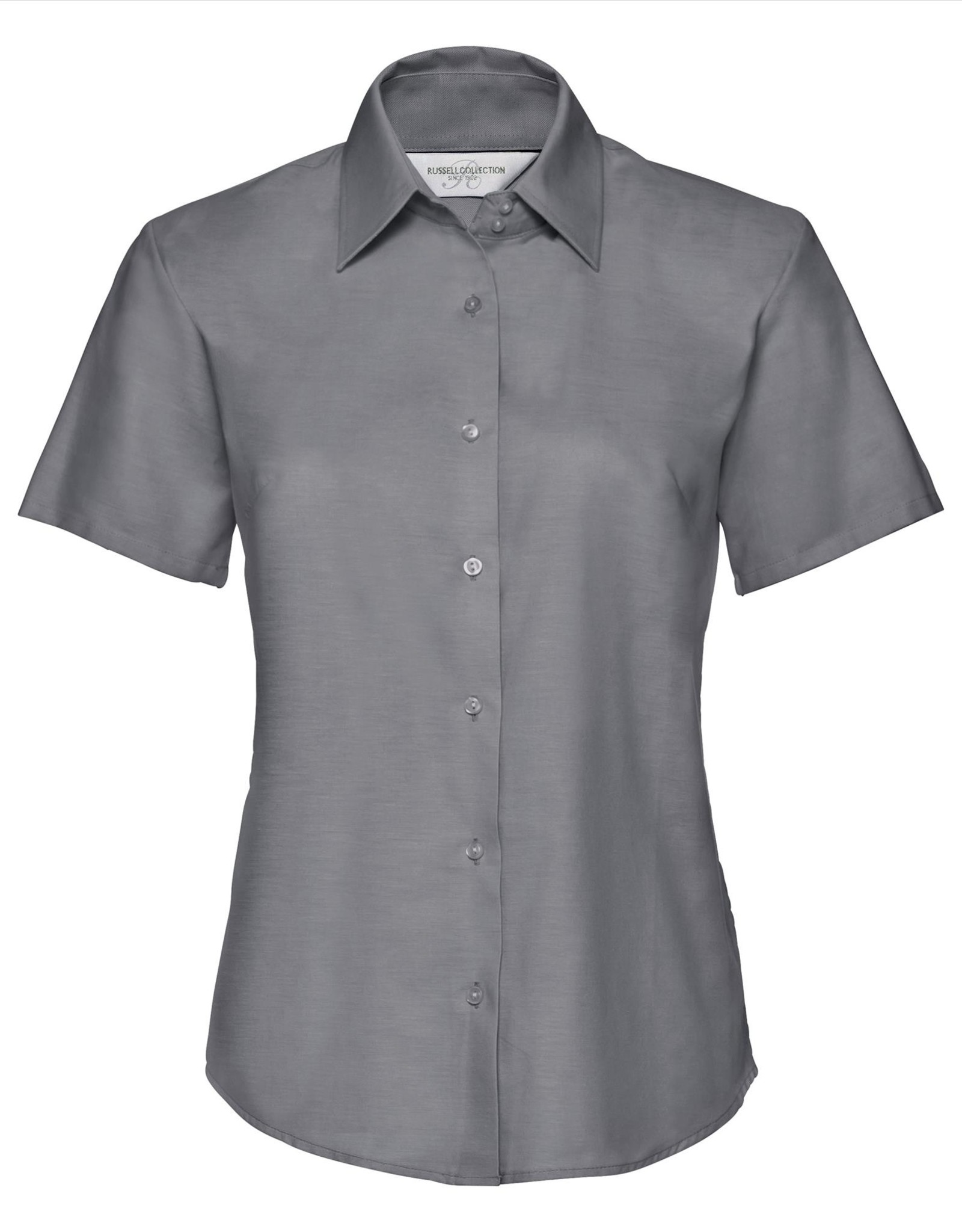 Russell BLOUSE Classic Oxford korte mouw zilver