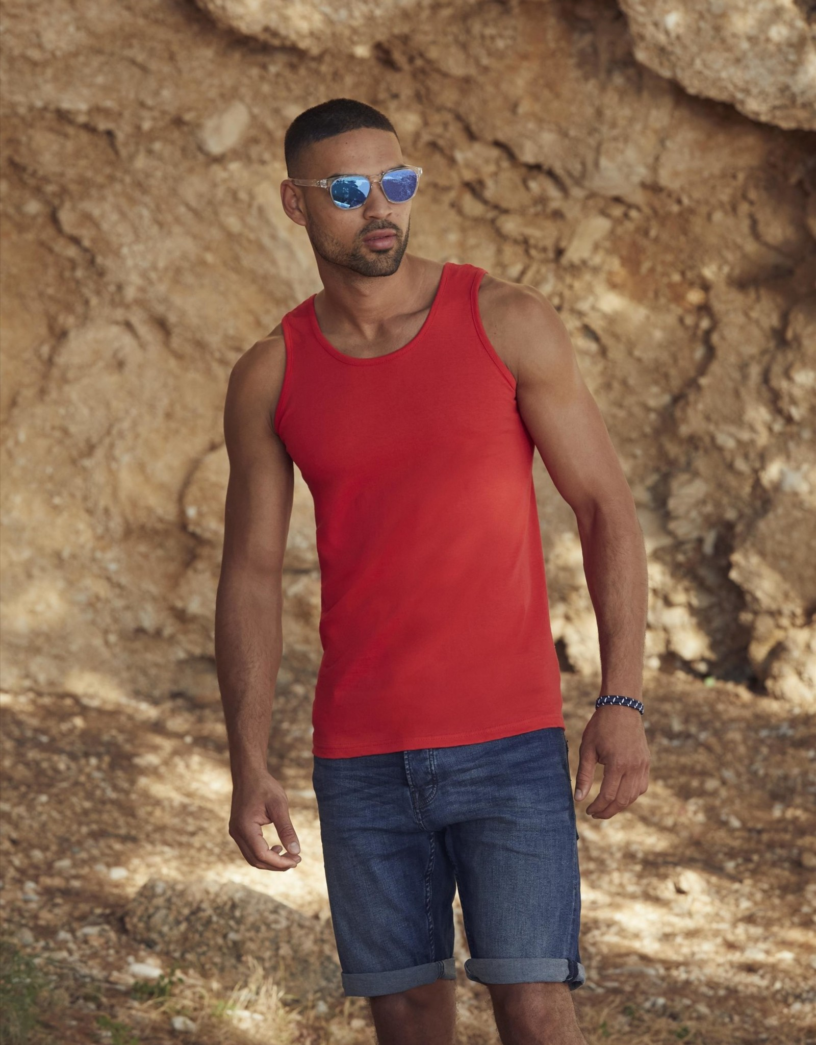 Fruit of the Loom SINGLET basic  'Valueweight Athletic Vest' grijs