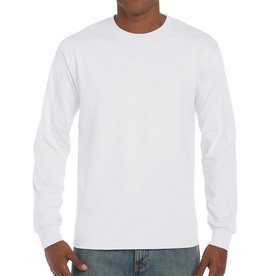 Gildan T-SHIRT heavy basic lange mouw wit