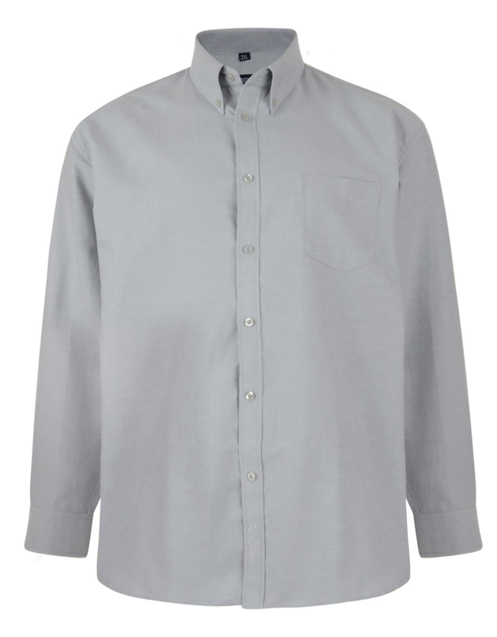 Kam Jeans OVERHEMD Oxford casual lange mouw grijs