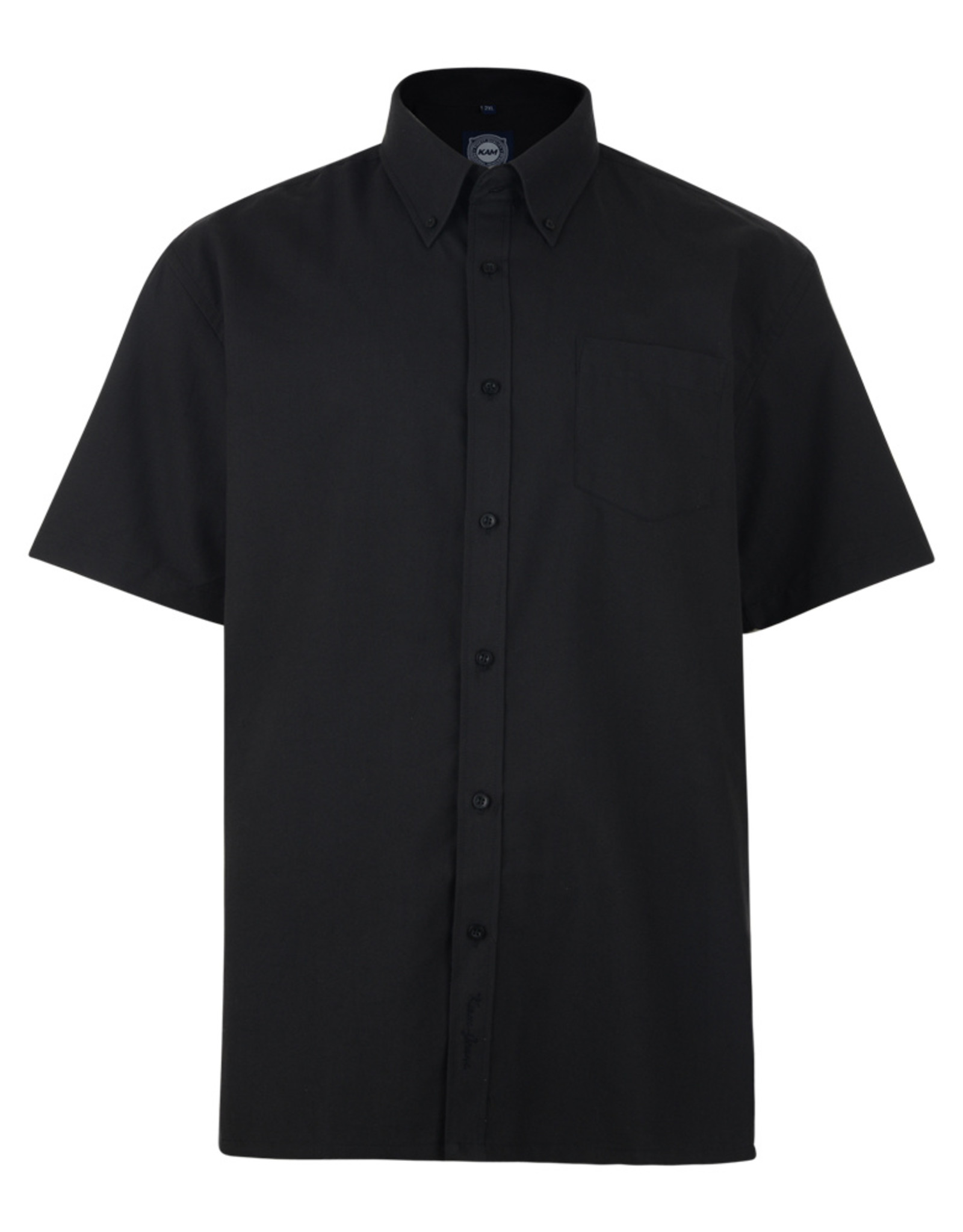 Kam Jeans OVERHEMD Oxford casual korte mouw zwart