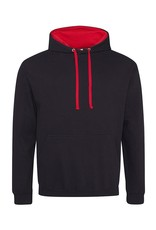 AWDis SWEATER casual met contrast capuchon zwart-rood