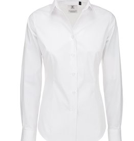 B&C BLOUSE Poplin stretch lange mouw wit