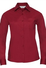 Russell BLOUSE Poplin polycotton lange mouw rood