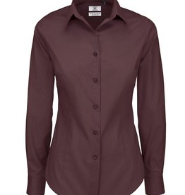 B&C BLOUSE Poplin stretch lange mouw bordeaux