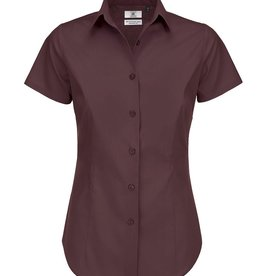 B&C BLOUSE Poplin stretch korte mouw bordeaux