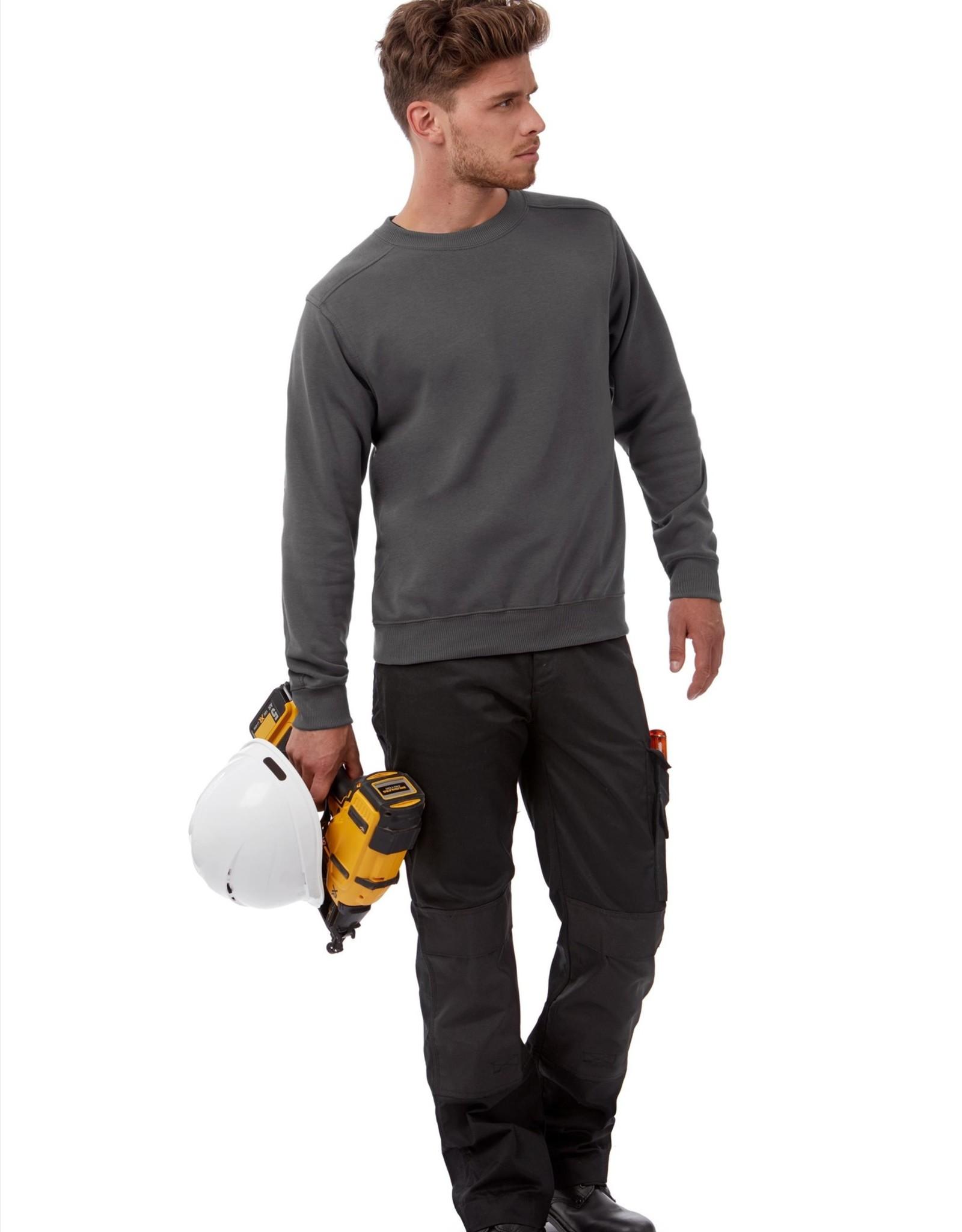 B&C Workwear set-in SWEATER antraciet