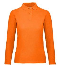 B&C POLOSHIRT dames lange mouw oranje