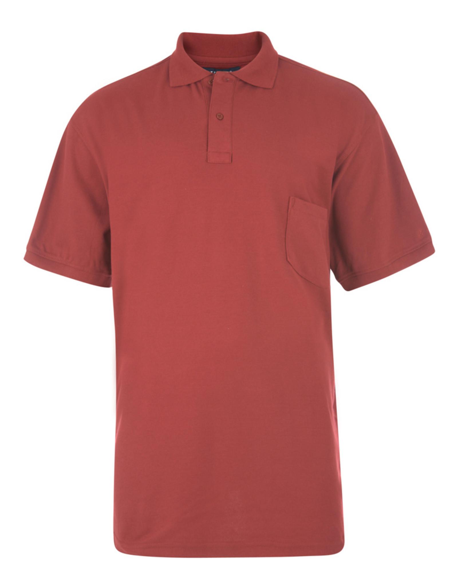 Kam Jeans BASIC POLOSHIRT met borstzak rood