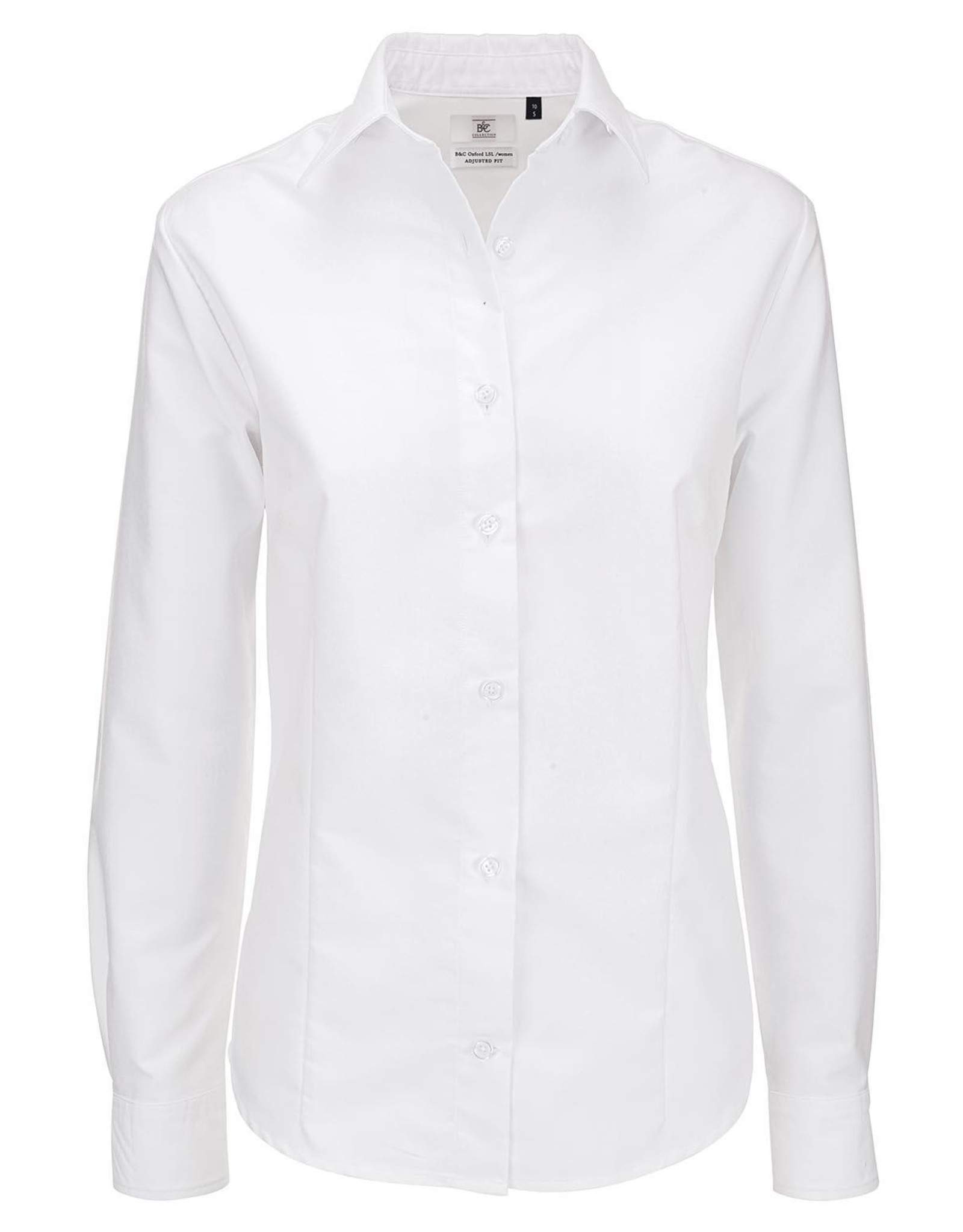 B&C DAMES BLOUSE lange mouw Oxford wit