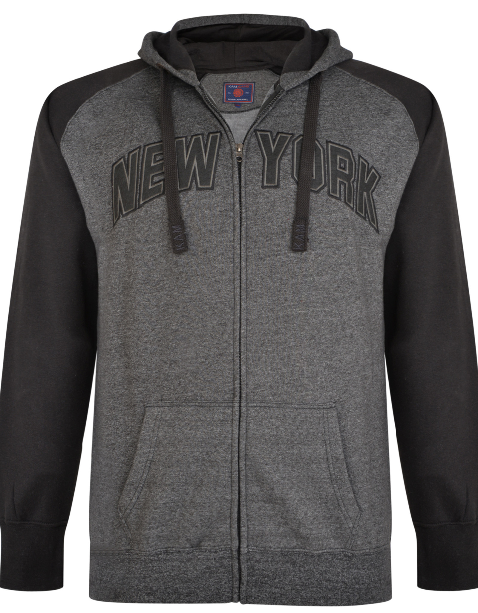 Kam Jeans SWEATVEST met borduring 'New York' antraciet