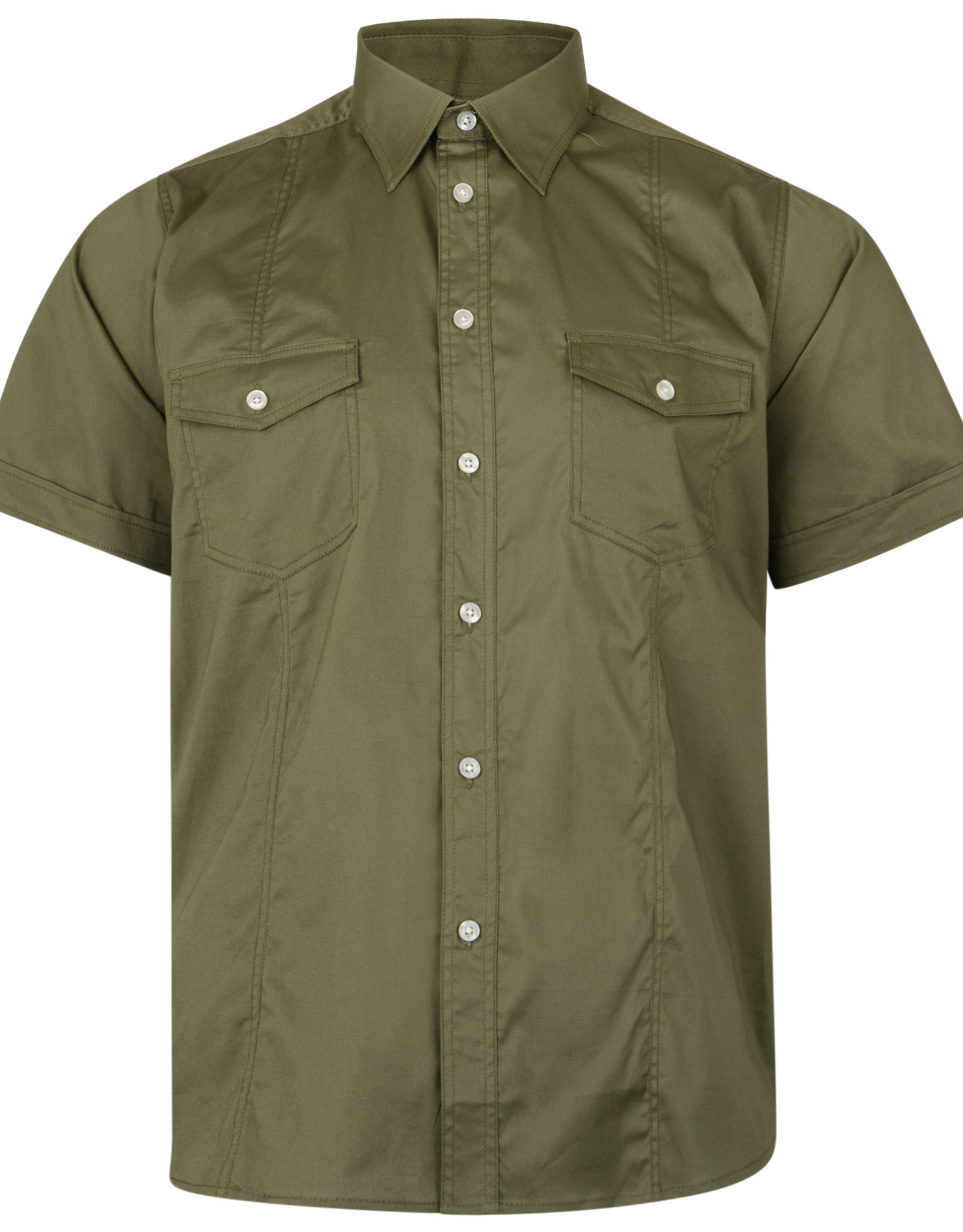 Kam Jeans OVERHEMD retro stretch - khaki groen