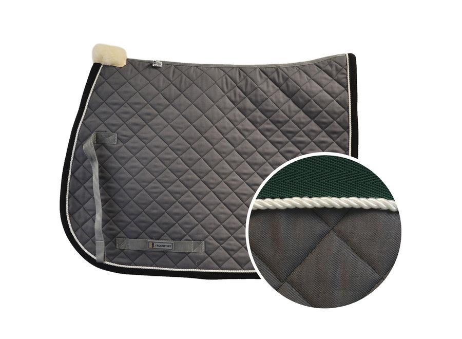 Schabracke Grau - Grüne Bindung
