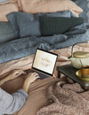 Remy duvet cover - Copper/Celadon Sale