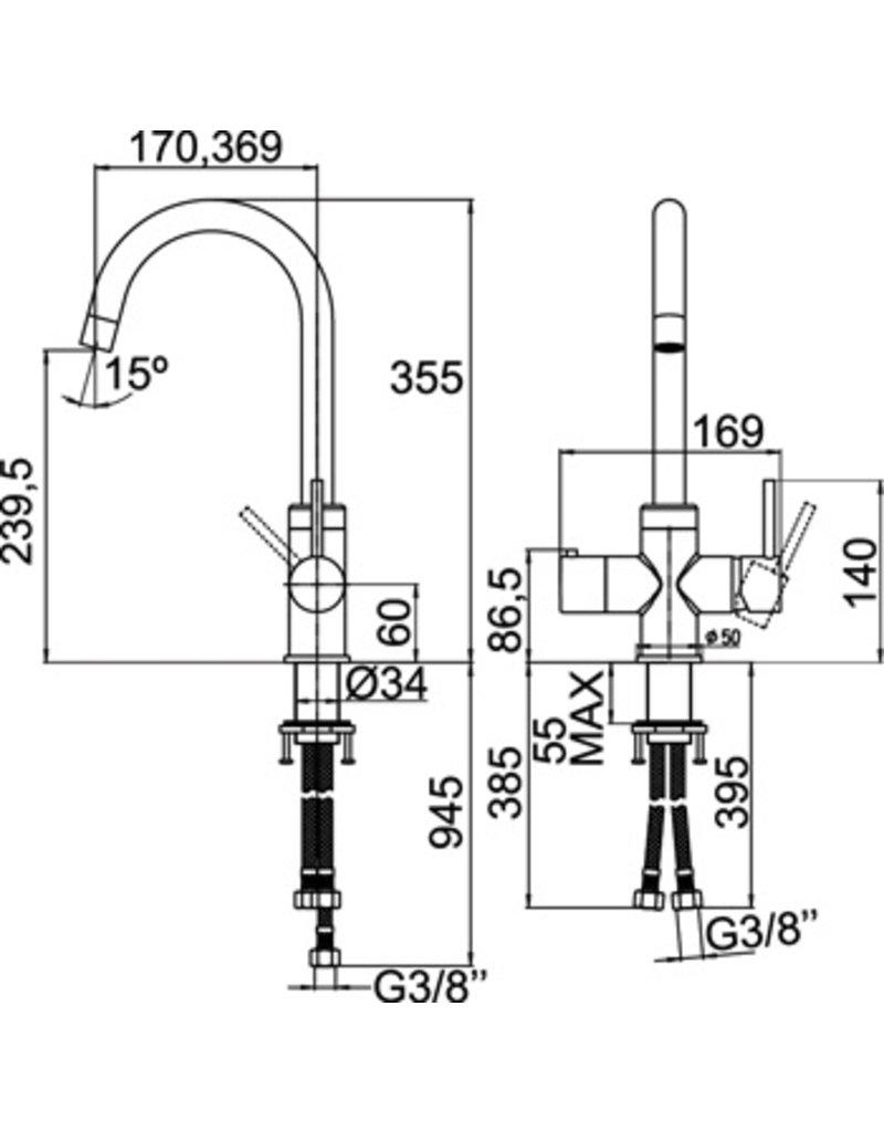 Selsiuz Selsiuz Rond Chroom met Single boiler