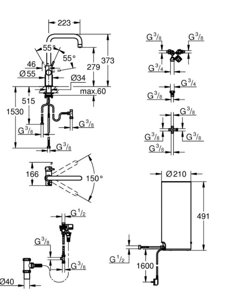 Grohe Grohe Red Duo Haaks Supersteel met L-size boiler (30144DC1)
