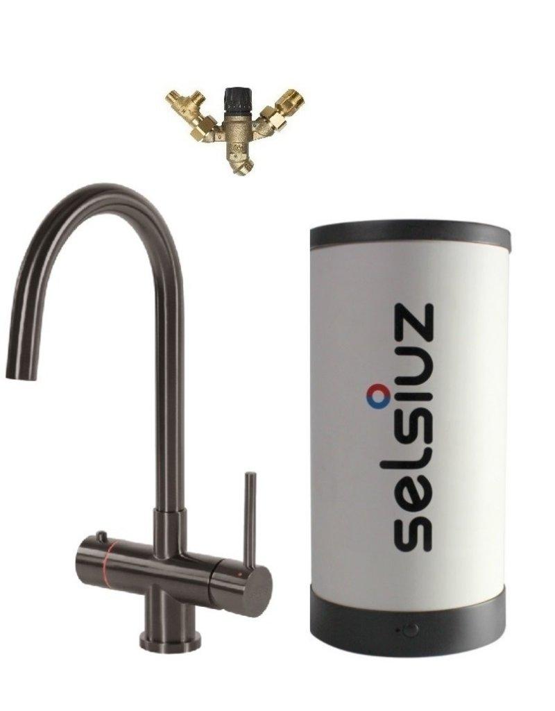 Selsiuz Selsiuz Rond Gun Metal Zwart met Combi (Extra) boiler