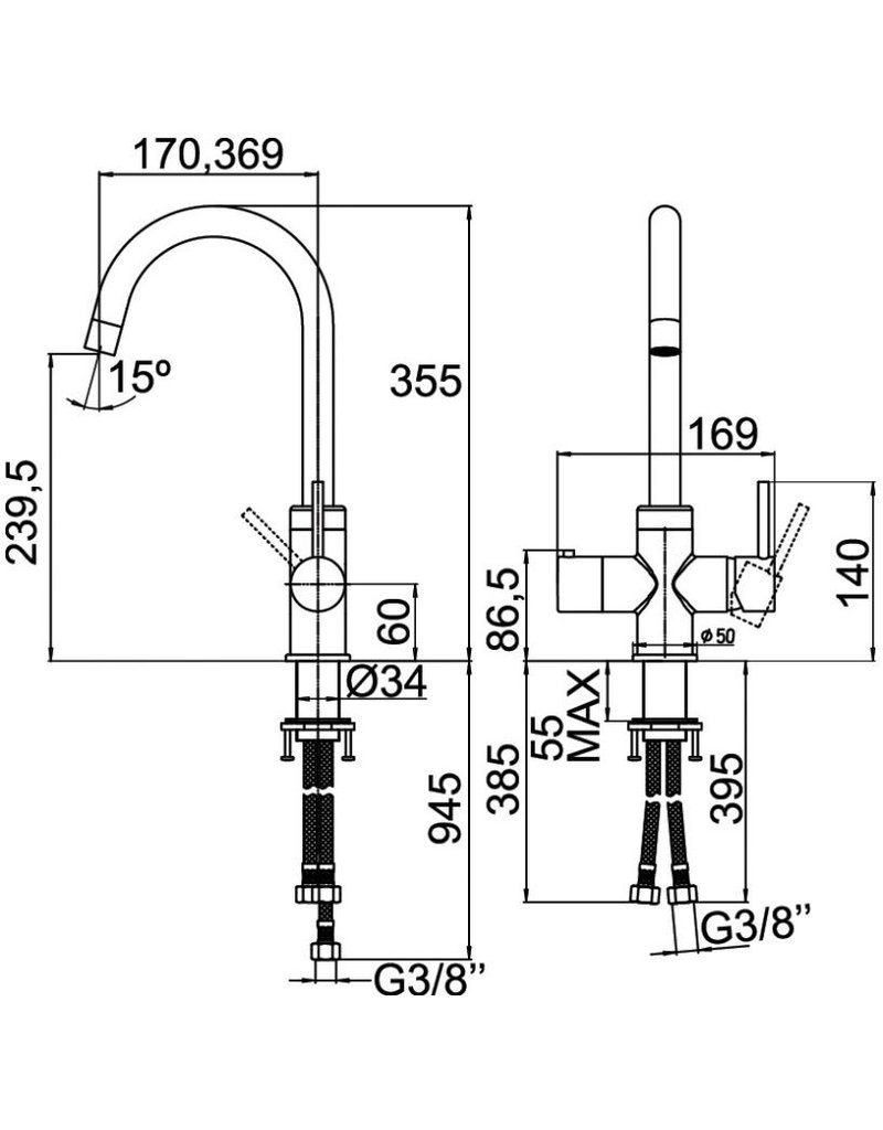 Selsiuz Selsiuz Rond Chroom met Combi (Extra) boiler