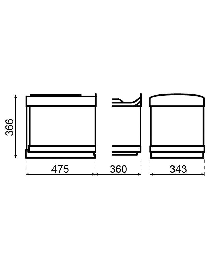Lanesto Lanesto Afvalemmer 32 liter (2x16 liter) Afvalemmer 32 (2x16) liter Grijs