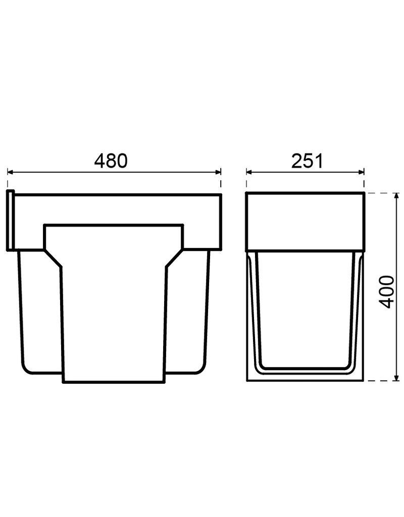 Hailo Hailo Afvalemmer Tandem 30 liter (2x15 liter)  Zilver/grijs (3666-82)