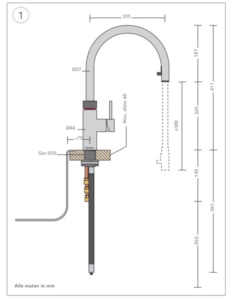 Quooker Quooker Flex RVS met PRO3-VAQ reservoir