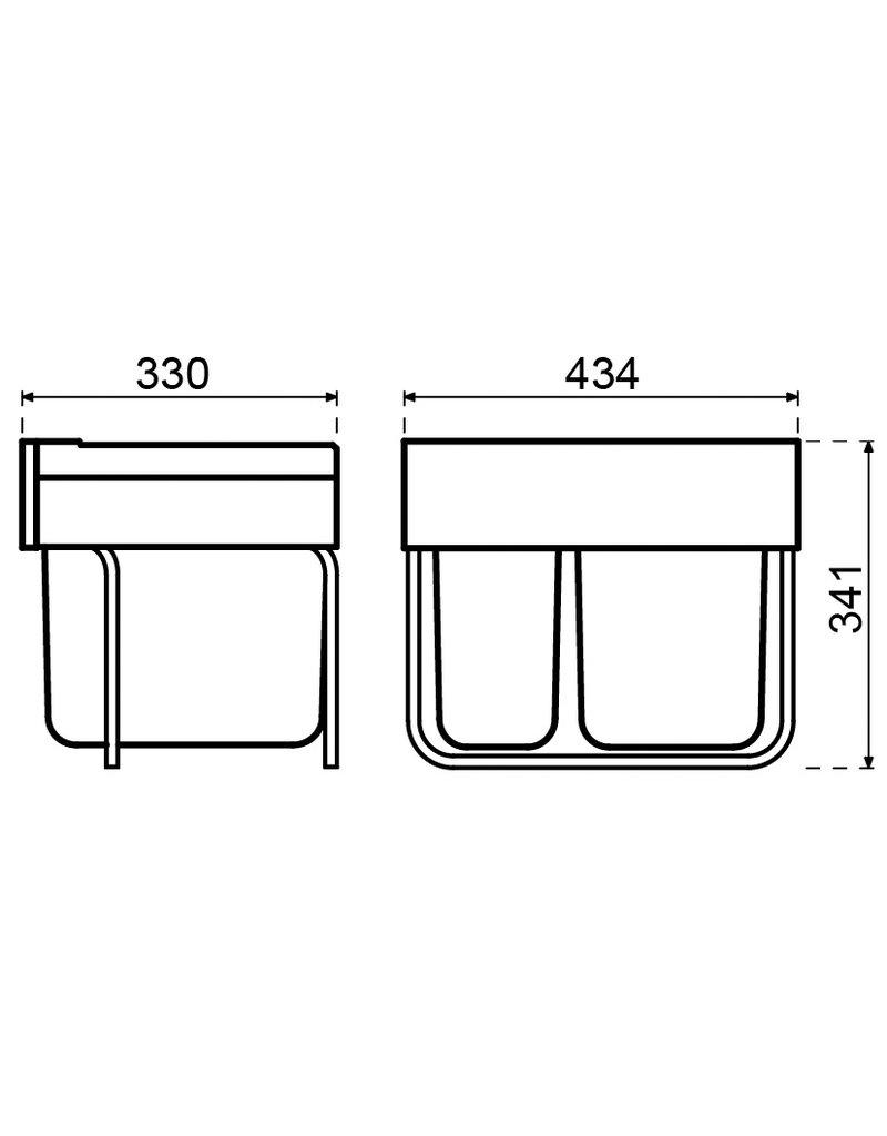 Hailo Hailo afvalemmer Tandem de Luxe Afvalemmer Tandem de Luxe 30 liter (1x12 + 1x18 liter) Zilver/grijs (3644-70)