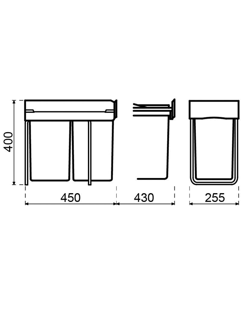 Lanesto Lanesto Afvalemmer 28 liter (2x14 liter) Afvalemmer 28 (2x14) liter