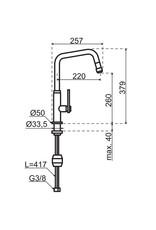 Gessi Gessi Mechanical Gun Metal Zwart met uittrekbare perlator