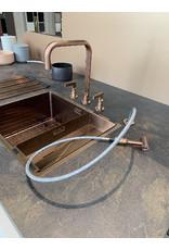 Gessi Gessi Inciso Copper viergats-kraan vlak met spoeldouche