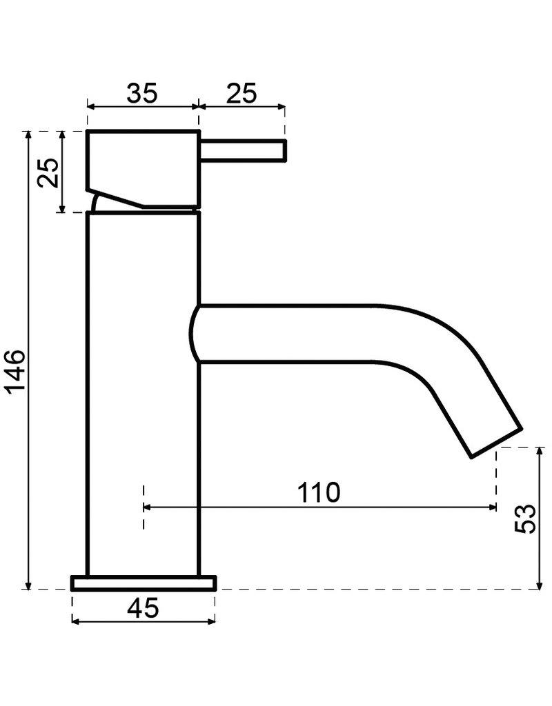 Waterevolution Waterevolution Qisani Flow opbouw wastafelkraan Copper / Koper