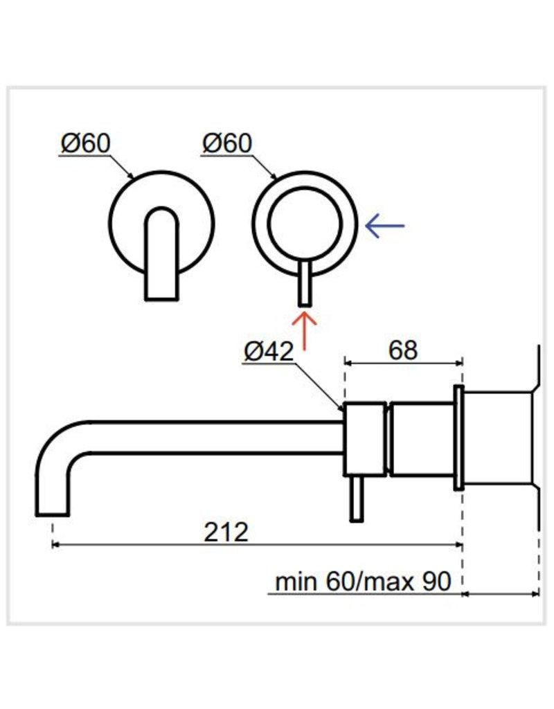 Waterevolution Waterevolution Qisani Flow wastafelkraan inbouw Gun Metal Zwart 21cm